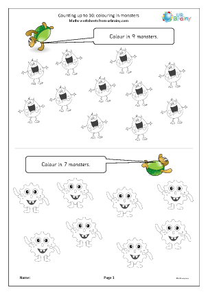 Preview of worksheet Counting up to 10: colouring in monsters