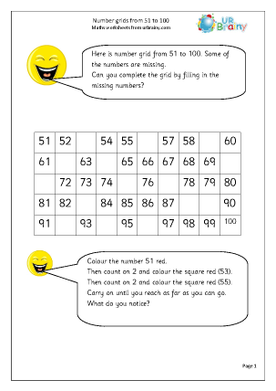 Number grids from 51 to 100