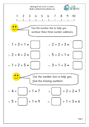 Preview of worksheet Add three small numbers