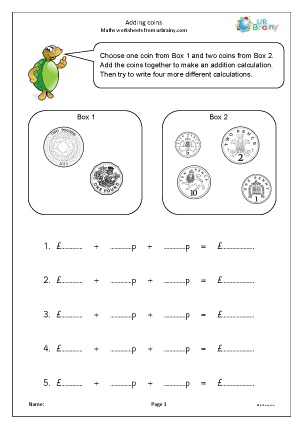 Preview of worksheet Adding coins