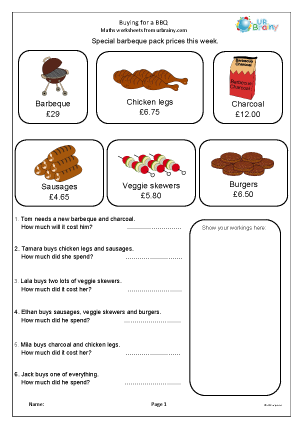 Preview of worksheet Barbecue shopping