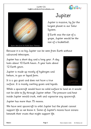 Preview of worksheet Jupiter (1)