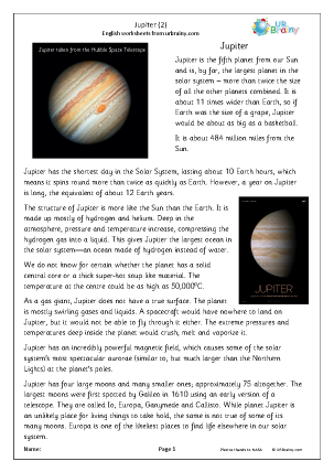 Preview of worksheet Jupiter (2)