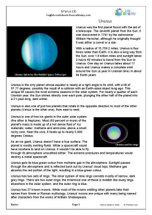 Preview of worksheet Uranus (3)