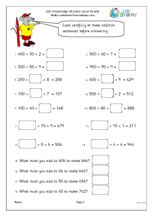 Preview of worksheet Use place value to add