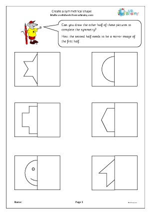 Preview of worksheet Create a symmetrical shape
