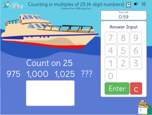 Preview of game Counting in multiples of 25 (4-digit numbers)