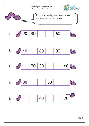 Preview of worksheet Missing tens in sequences