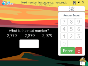 Preview of game Next number in sequence: hundreds (timed)