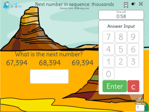 Preview of game Next number in sequence: thousands (timed)