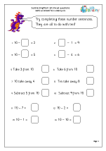 math worksheet : subtraction maths worksheets for year 1 age 5 6  : Year 1 Subtraction Worksheets