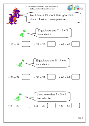 Preview of worksheet Subtraction: what else do you know?