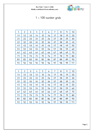 Preview of worksheet Number grid 1-100