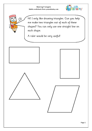 Preview of worksheet Making triangles