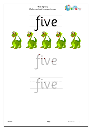 Preview of worksheet Writing Five