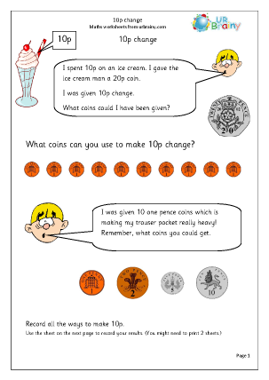 Preview of worksheet Ice cream change