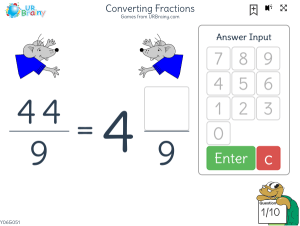 Preview of game Converting fractions