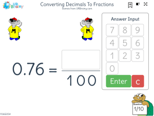 Preview of game Converting decimals to fractions