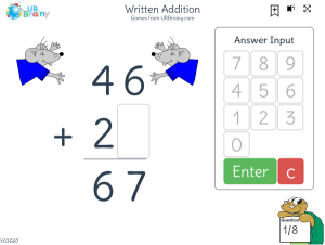 Preview of game Written addition