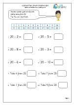 Subtract from 20 with a number grid