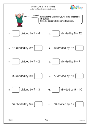 Preview of worksheet Division tables (7 and 9)