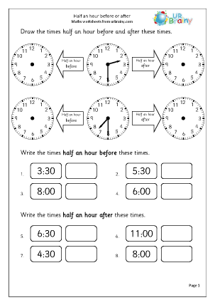 Preview of worksheet Half an hour before or after