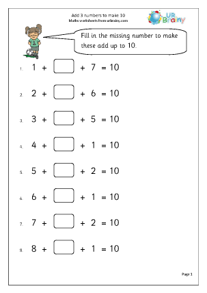 Preview of worksheet Add 3 numbers to make 10