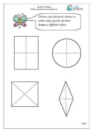 Preview of worksheet Quarter of shapes