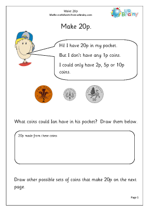 Preview of worksheet Coins to make 20p