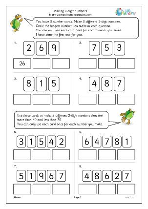 Preview of worksheet Making 2-digit numbers