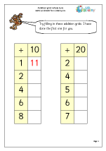Addition grid: whole tens