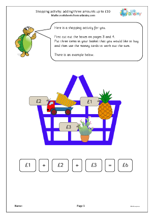 Preview of worksheet Shopping activity