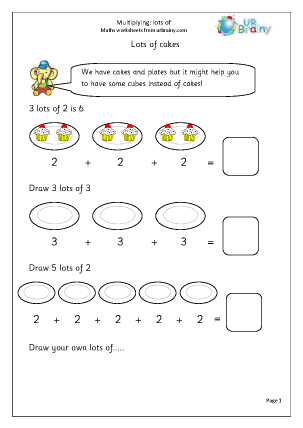 Preview of worksheet Multiplying: lots of