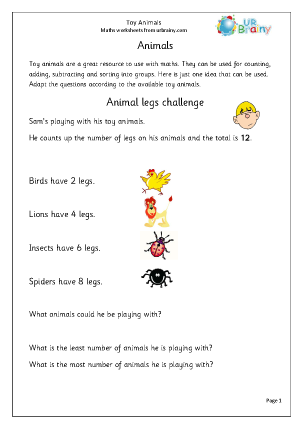 Preview of worksheet Toy animals