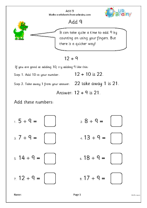 Preview of worksheet Add 9