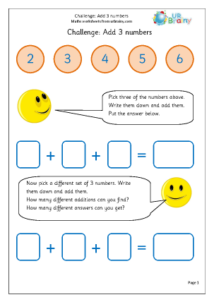 Preview of worksheet Add 3 numbers