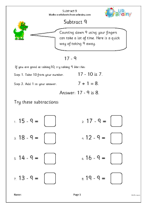 Preview of worksheet Subtract 9