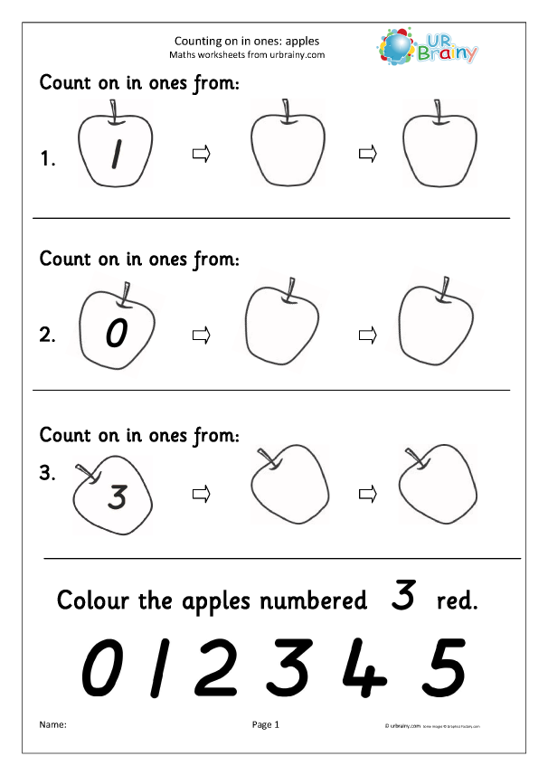 Preview of 'Count on with a number line - apples'