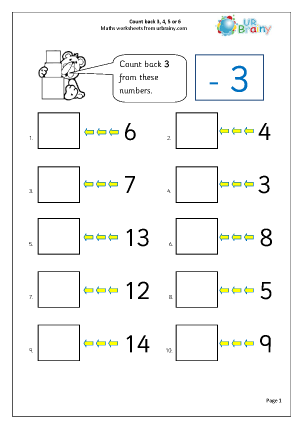 Preview of worksheet Count back 3, 4, 5 and 6