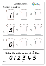 count on with a number line shirts counting on and back maths worksheets for early reception. Black Bedroom Furniture Sets. Home Design Ideas