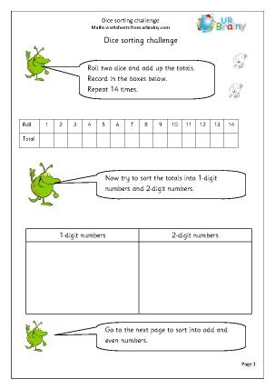 Preview of worksheet Dice sorting