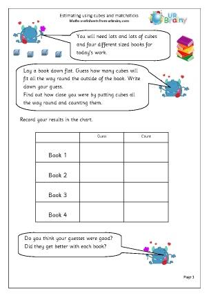 Preview of worksheet Estimating using cubes and matchsticks