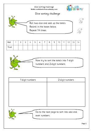 Preview of worksheet Dice sorting numbers