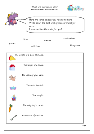 Preview of worksheet Which unit to measure with