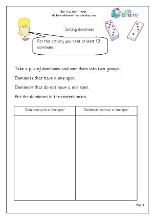 Preview of worksheet Sorting dominoes